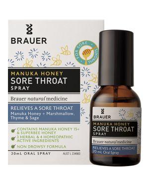 Manuka Honey Sore Throat Spray 20ml Brauer