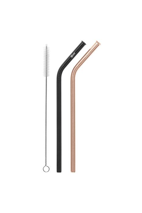 2 Pack Bent Stainless Steel Straws - Rose Gold, Black & Cleaning Brush Cheeki