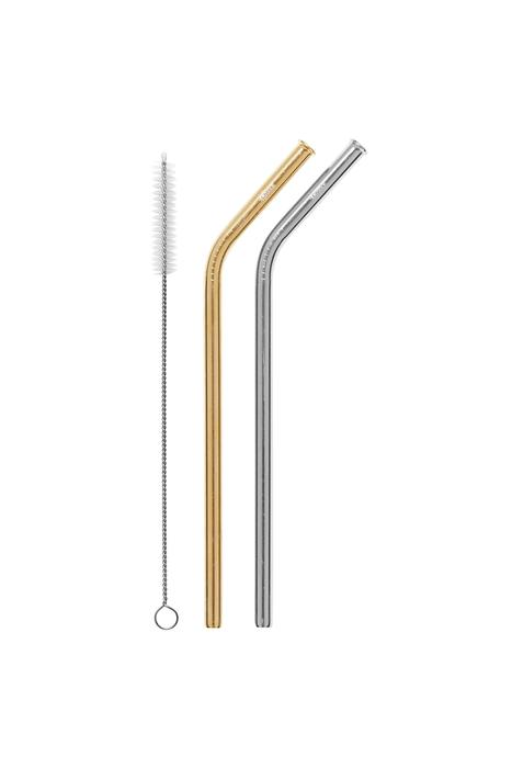 2 Pack Bent Stainless Steel Straws - Silver, Gold & Cleaning Brush