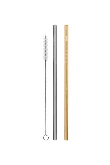 2 Pack Straight Stainless Steel Straws - Silver, Gold & Cleaning Brush Cheeki