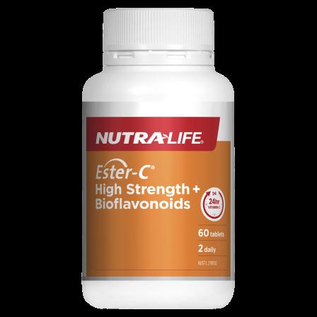Ester-C High Strength + Bioflavonoids 60 Tabs Nutra-Life