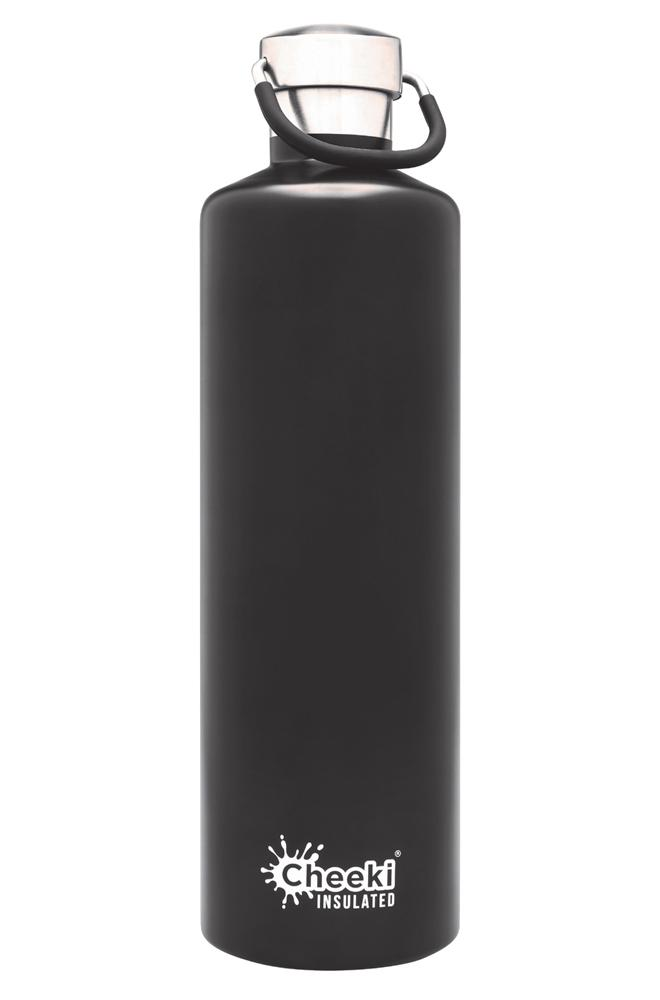 Classic Insulated Bottle - Matt Black 1L Cheeki