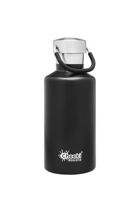 Classic Insulated Bottle - Matte Black 400ml Cheeki