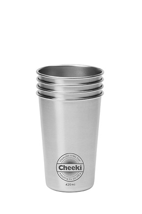 Stainless Steel Cups - 4 Pk 420ml Cheeki