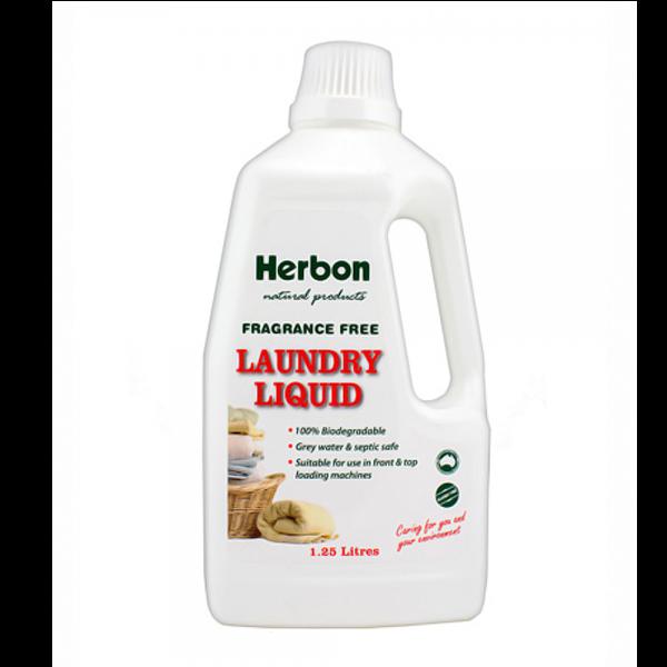 Laundry Liquid Fragrance Free 1.25L Herbon
