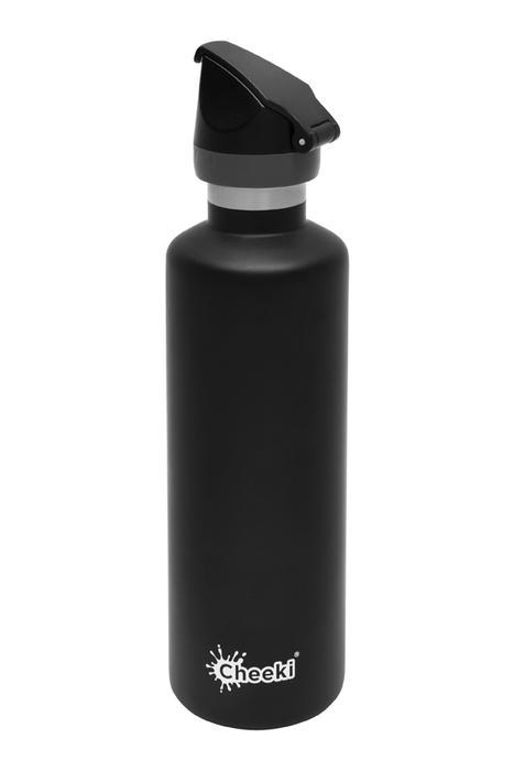 Insulated Active Bottle - Matte Black 600ml Cheeki