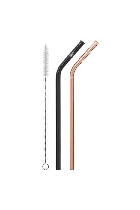 2 Pack Bent Stainless Steel Straws - Rose Gold, Black & Cleaning Brush Cheeki