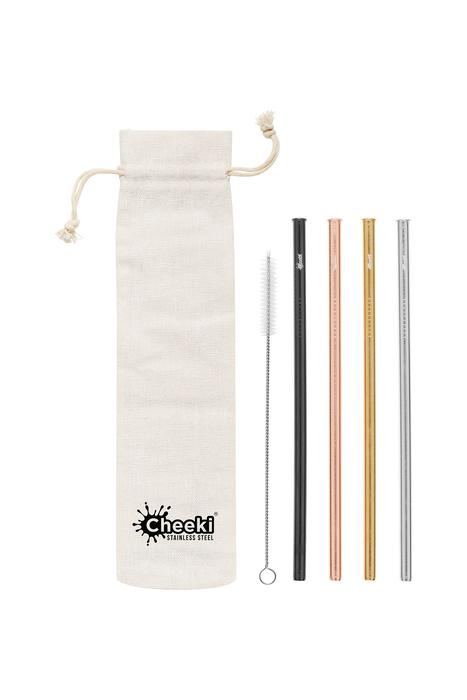 4 Pack Straight Stainless Steel Straws - Silver, Gold, Rose Gold, Black, Cleaning Brush + Bag Cheeki